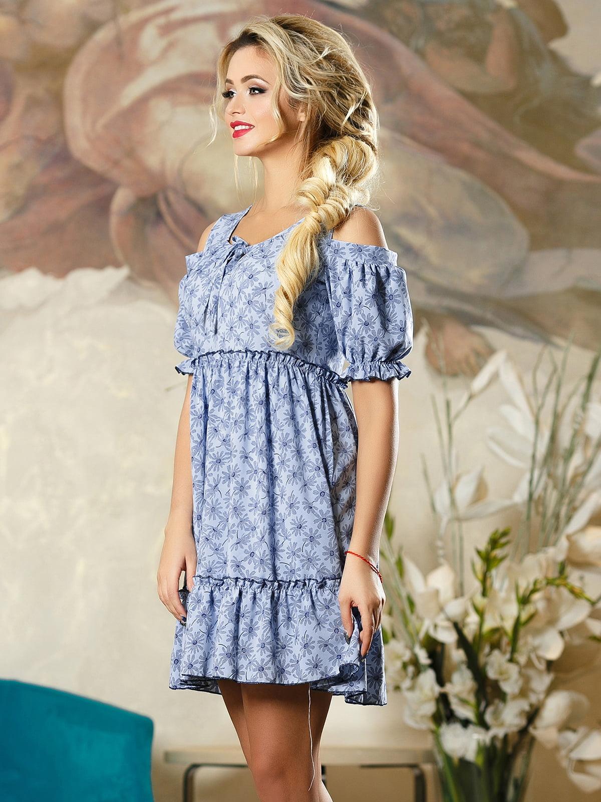 Сукня синя в квітковий принт | 4263104 | фото 3