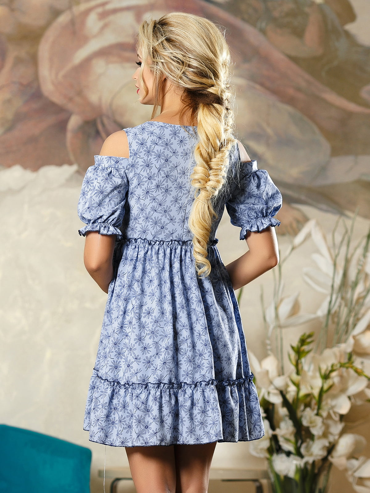 Сукня синя в квітковий принт | 4263104 | фото 4