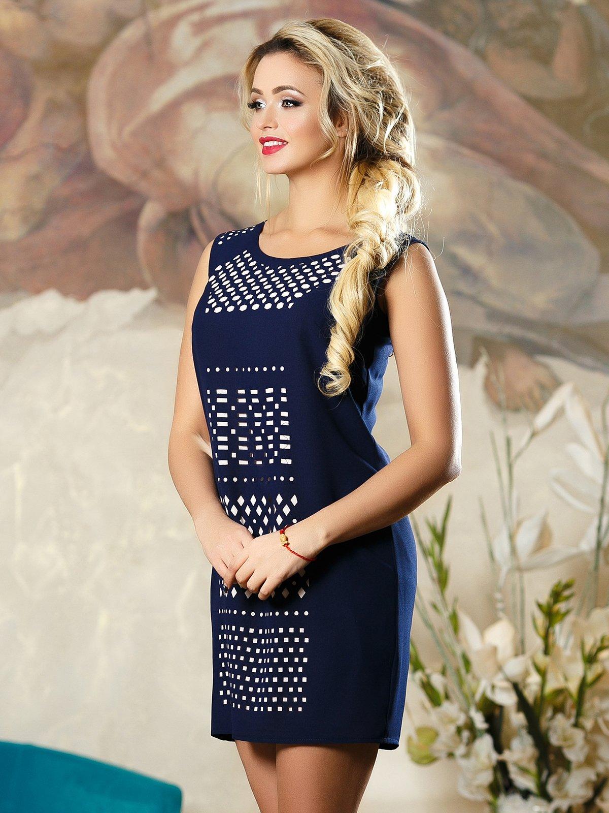 Платье синее в принт | 4263110