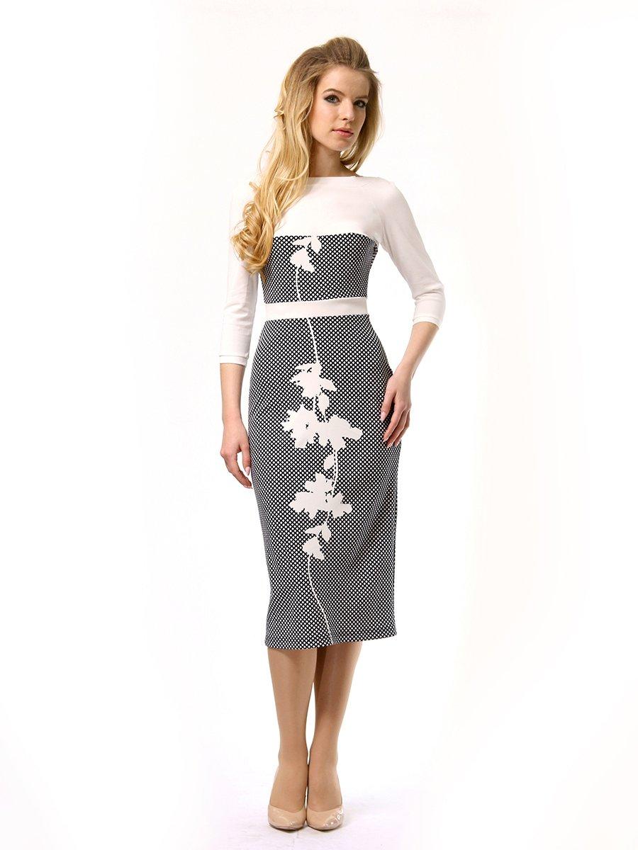 Платье двухцветное с принтом | 4249897