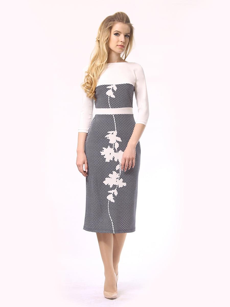 Платье двухцветное с принтом | 4249897 | фото 2