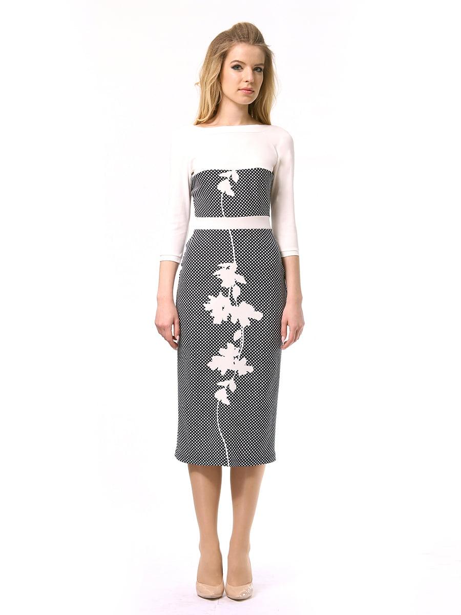 Платье двухцветное с принтом | 4249897 | фото 3