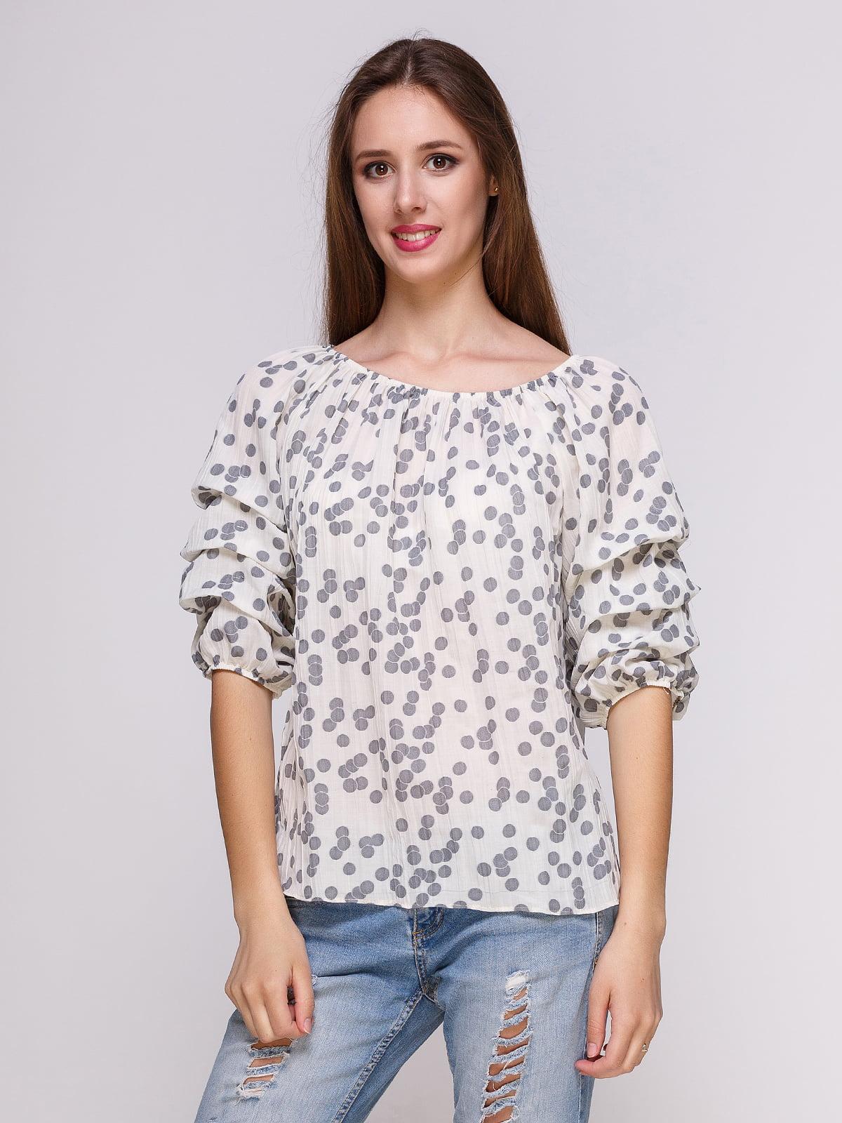 Блуза светло-серая в горошек | 4262436