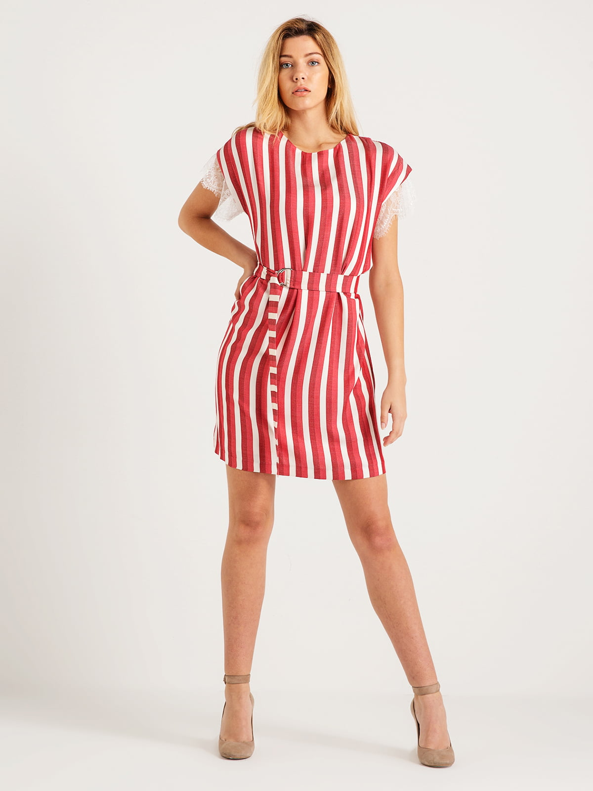 Платье красное в полоску | 4265402