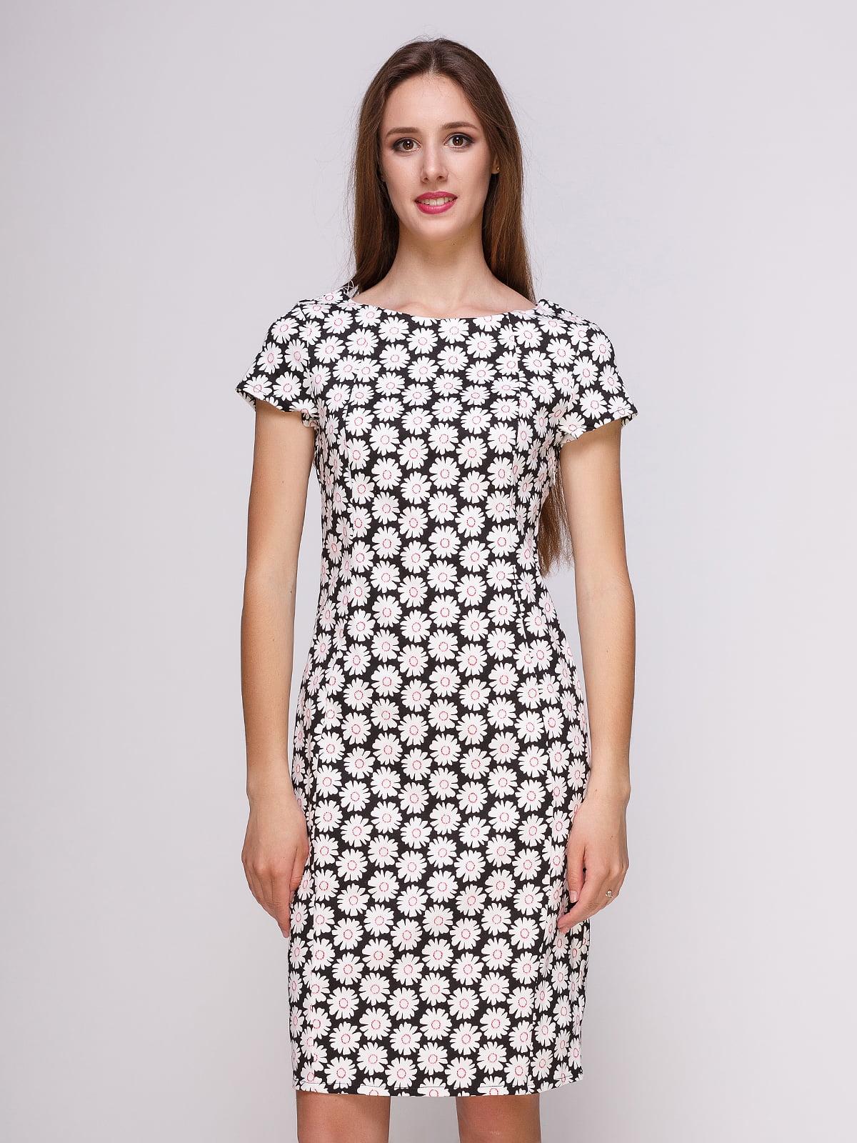 Платье черное в цветочный принт | 4262481
