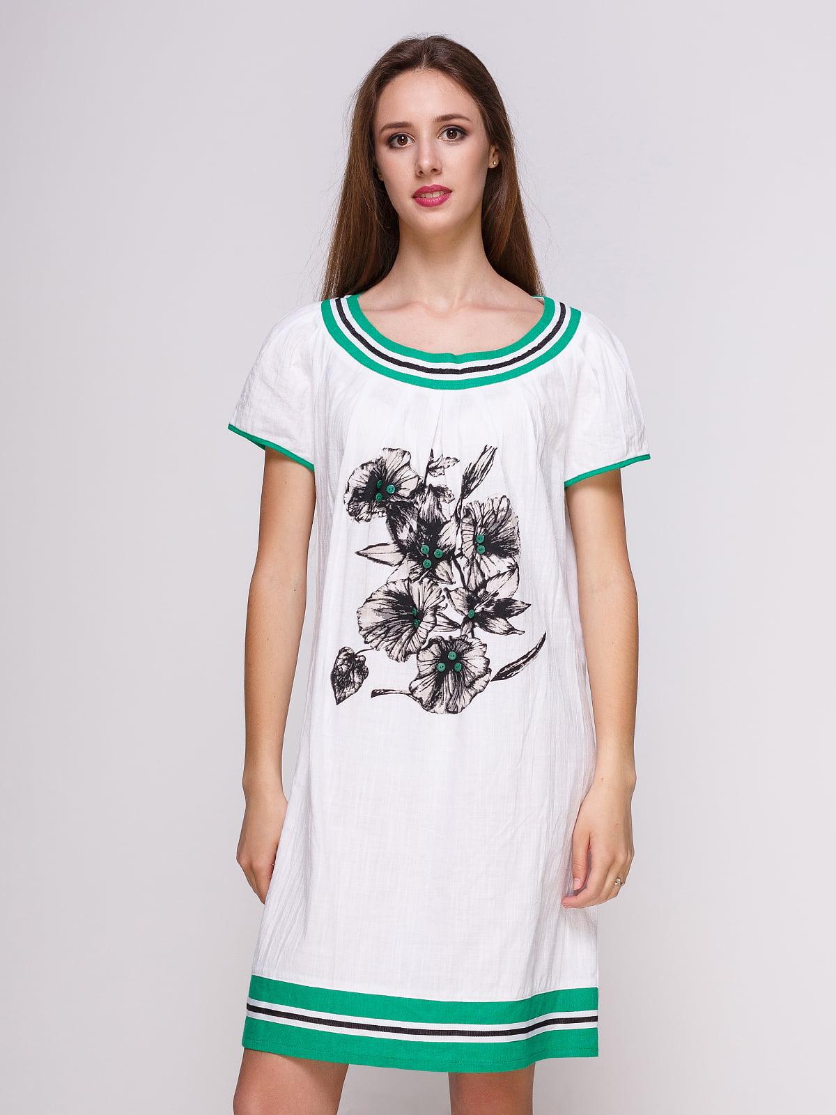 Платье белое с цветочным принтом | 4262403