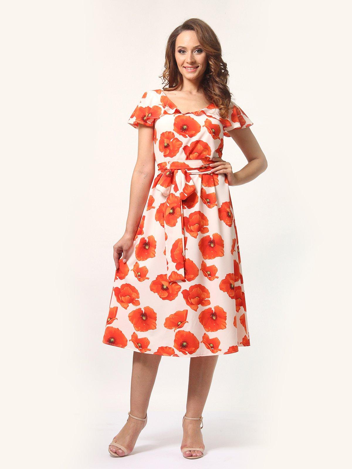 Сукня молочного кольору в квітковий принт   4257762