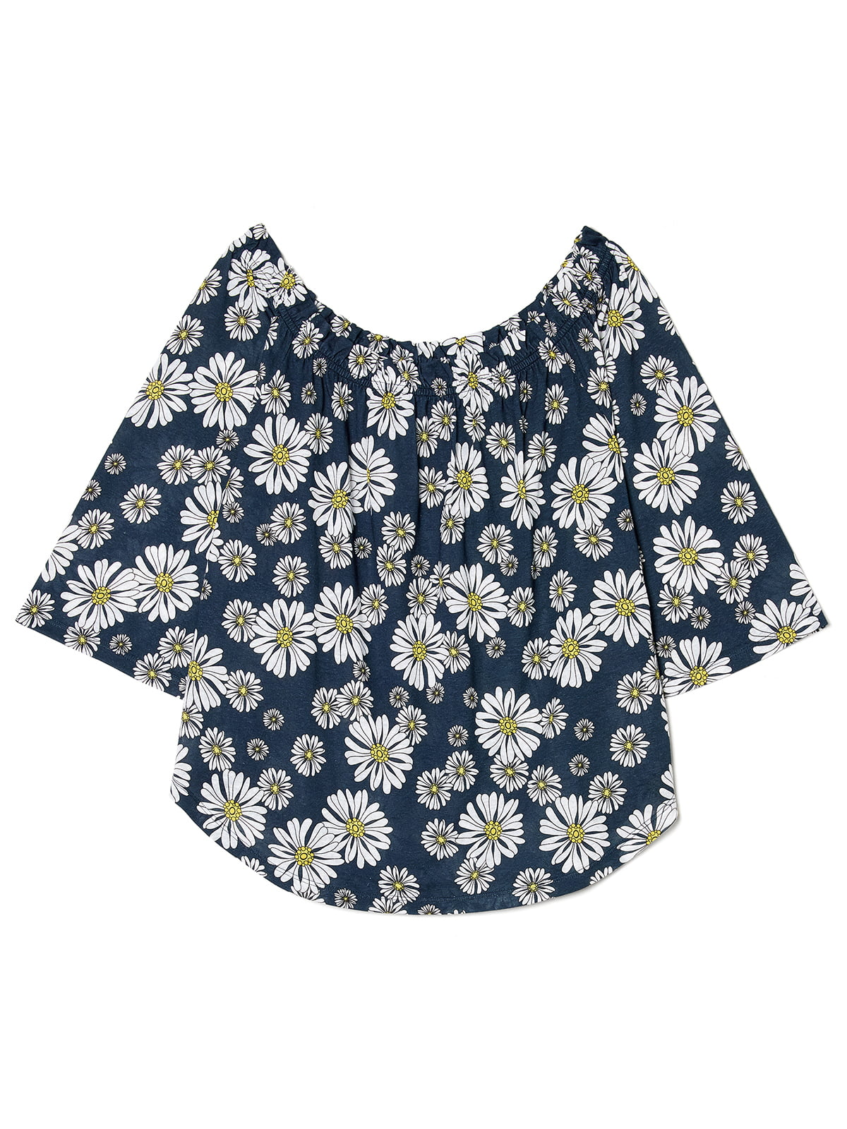 Блуза синя з квітковим принтом | 4277461