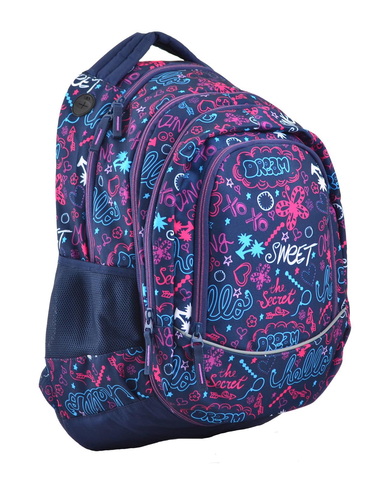 Рюкзак молодіжний 2в1 темно-синій в принт | 4284751