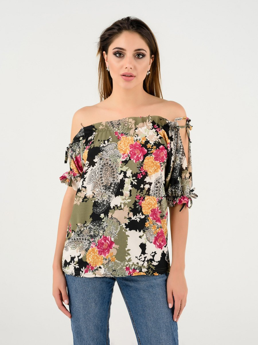 Блуза зелена в квітковий принт | 4237750