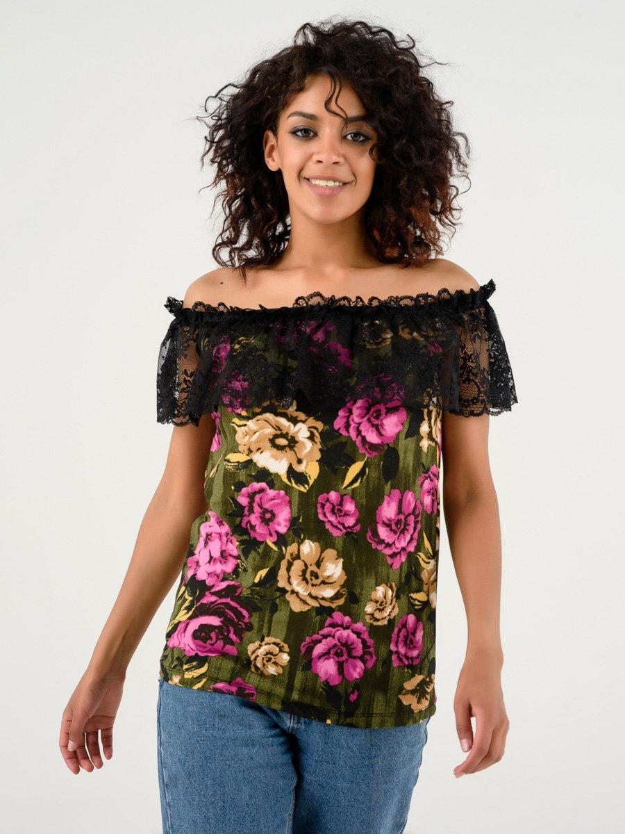 Блуза зеленая в цветочный принт | 4237753