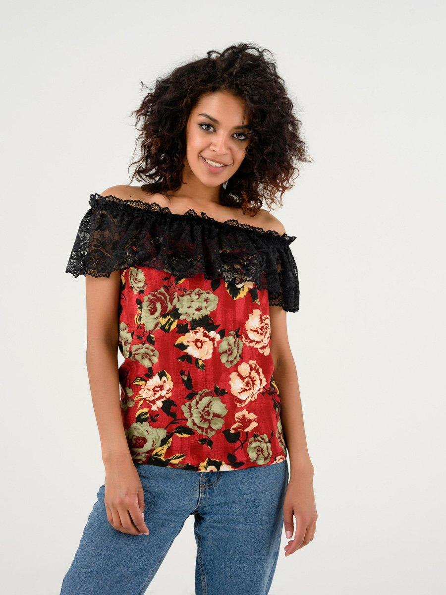 Блуза бордова в квітковий принт | 4237754