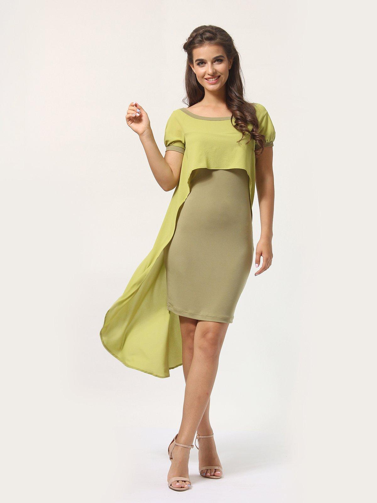 Платье оливкового цвета | 4290401 | фото 2