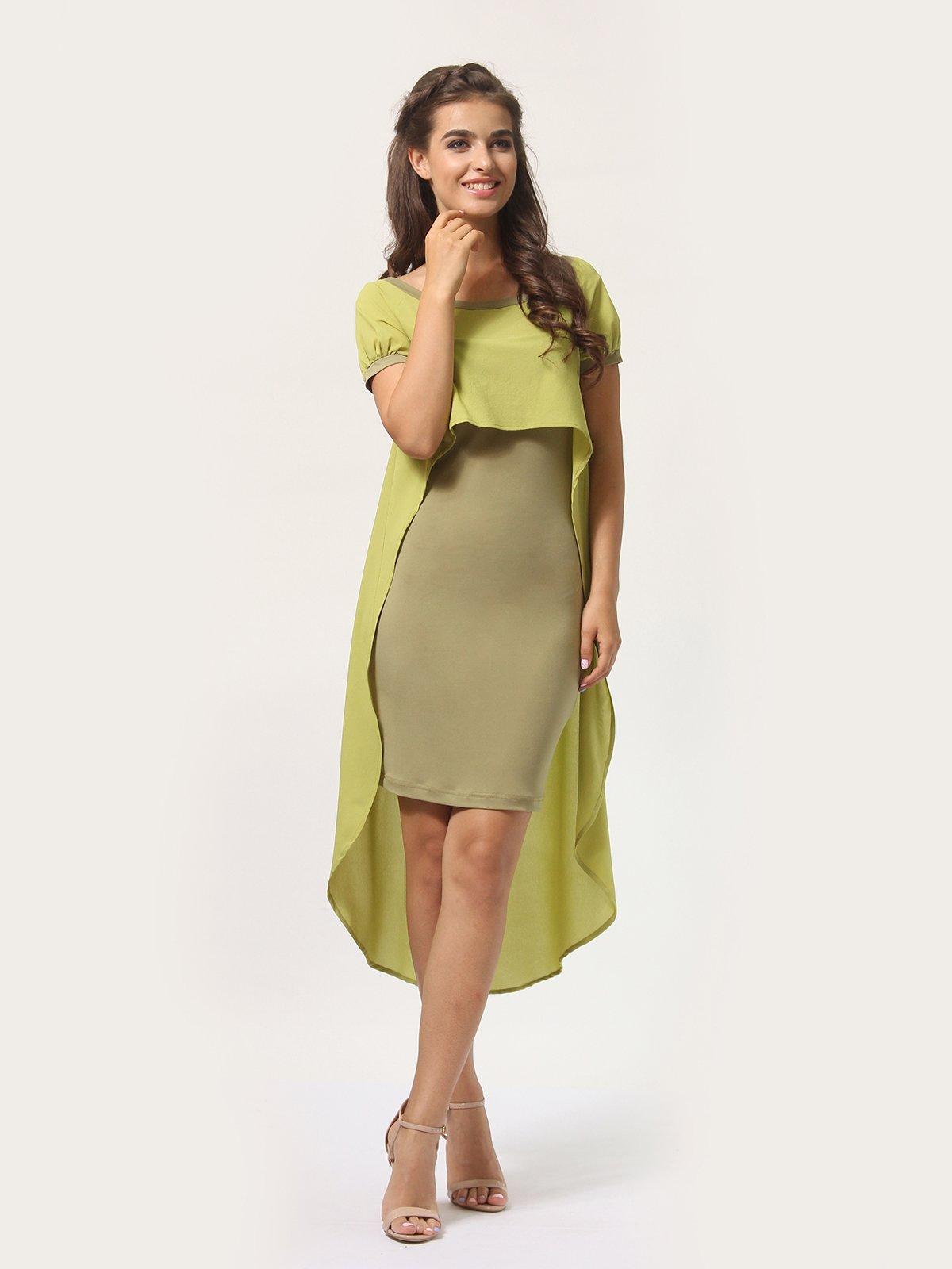 Платье оливкового цвета | 4290401 | фото 3