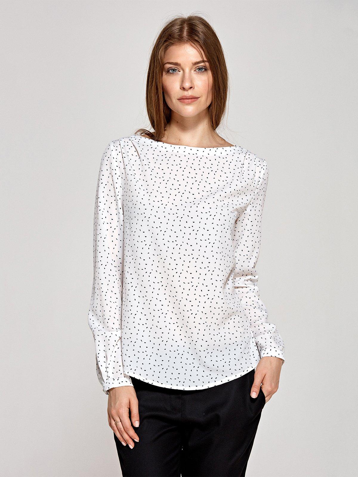 Блуза кольору екрю в принт | 4293746
