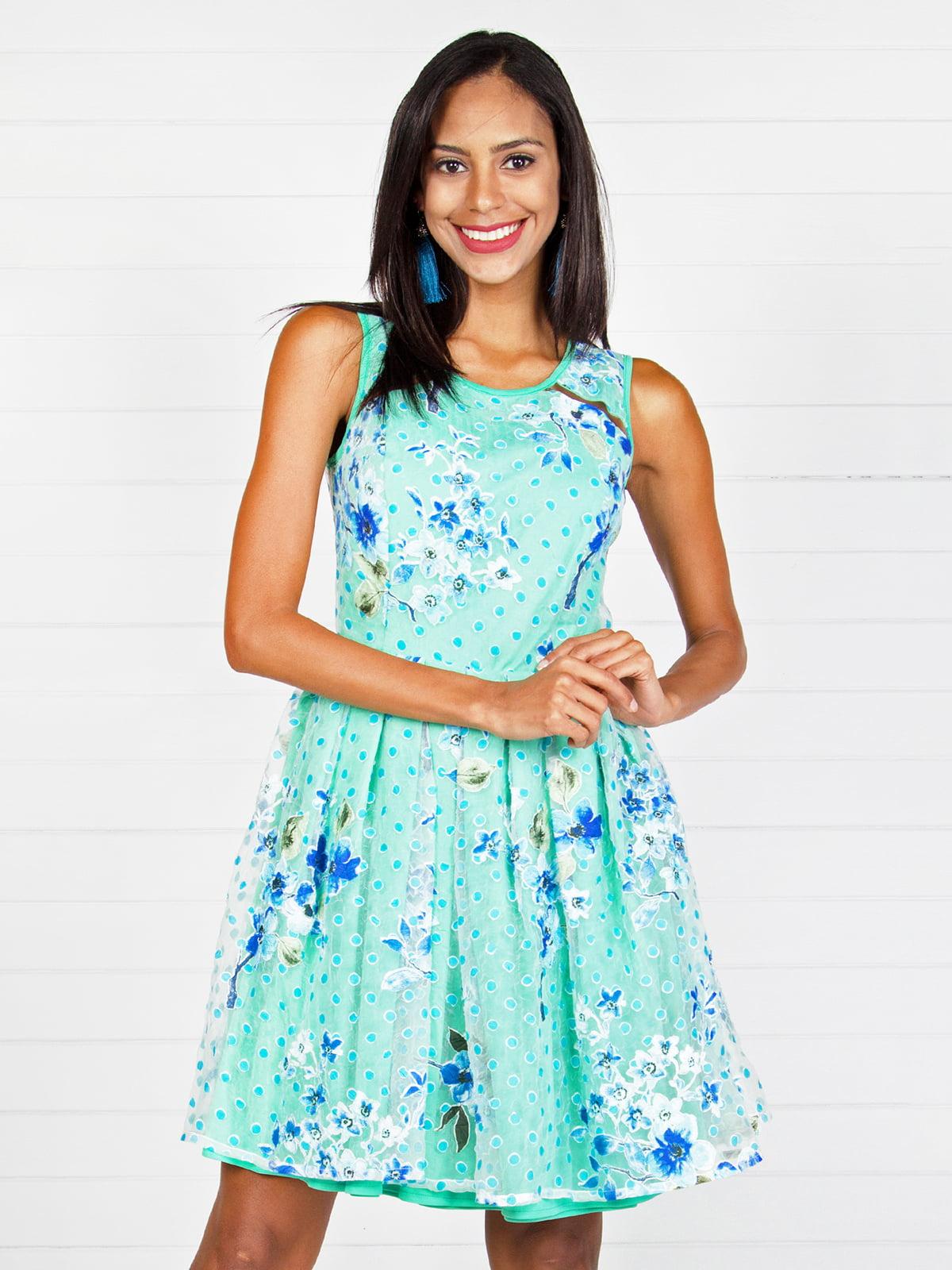 Сукня м'ятного кольору з комбінованим принтом | 4294068