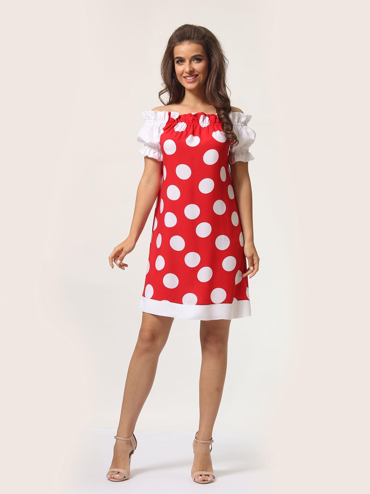 Платье красное в горошек | 4301917 | фото 2