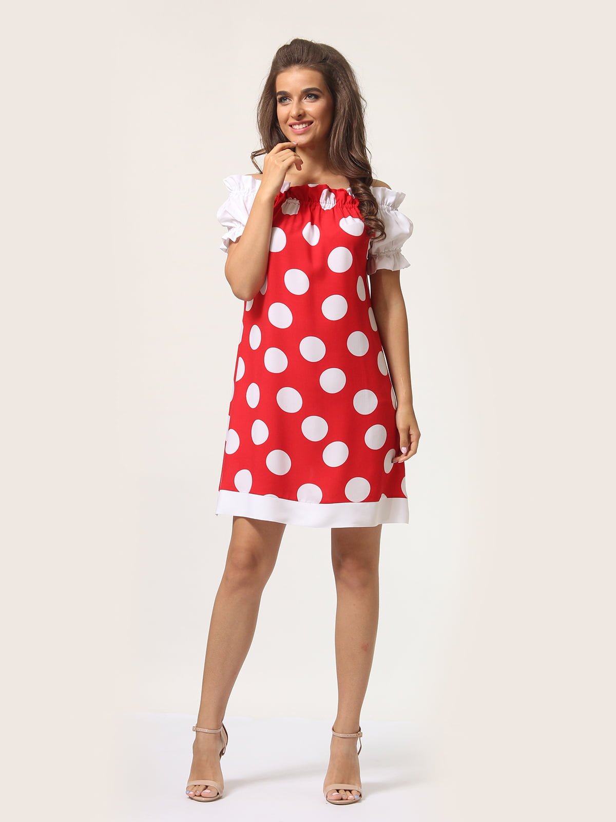 Платье красное в горошек | 4301917 | фото 3