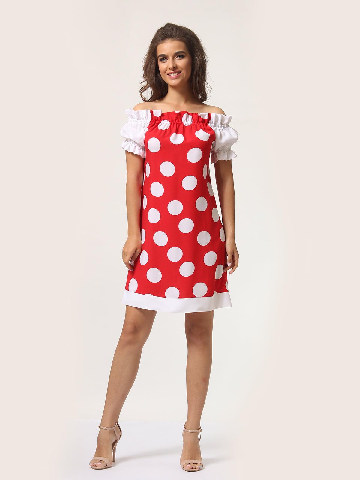 Платье красное в горошек | 4301917 | фото 4
