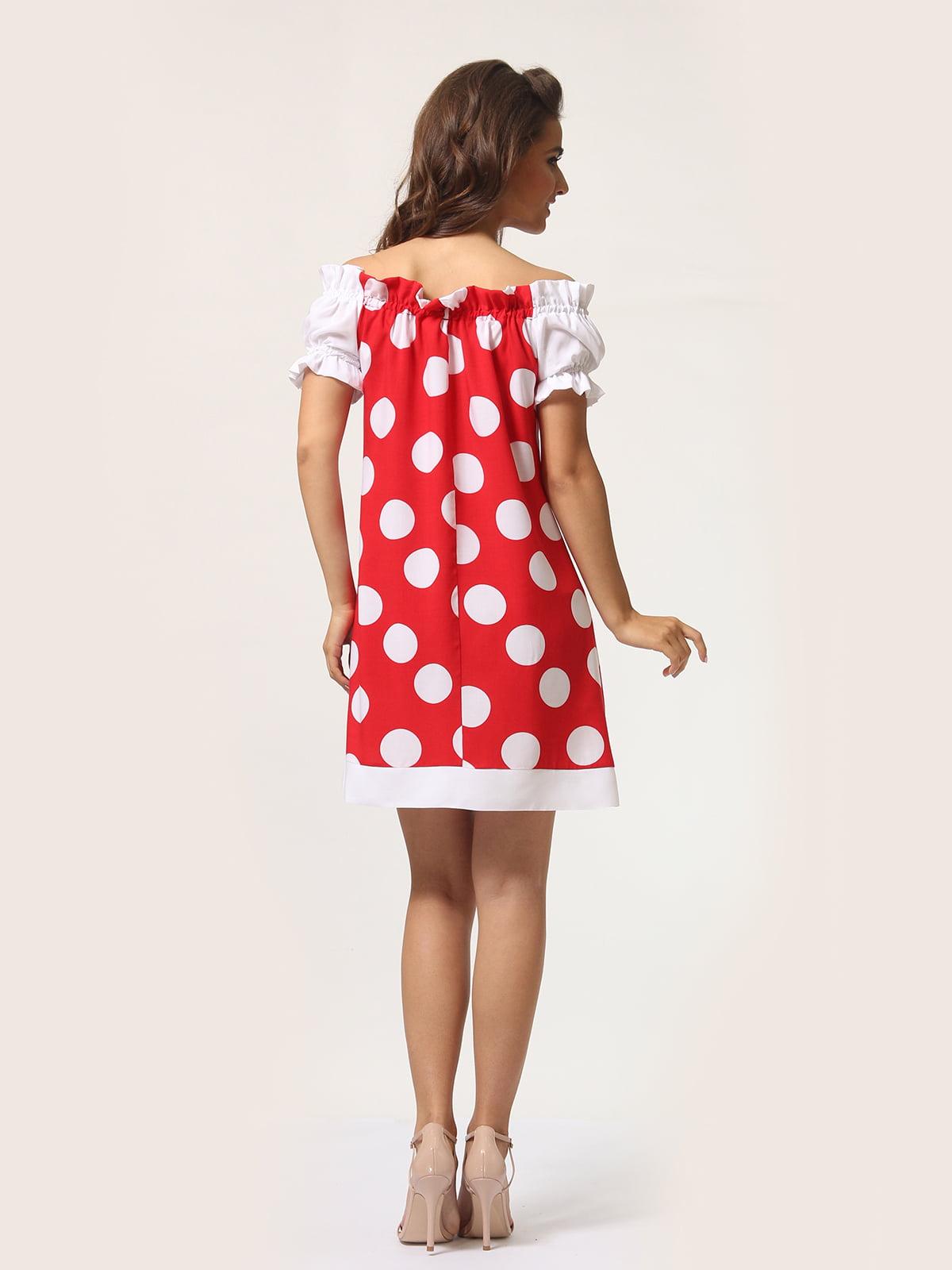 Платье красное в горошек | 4301917 | фото 5