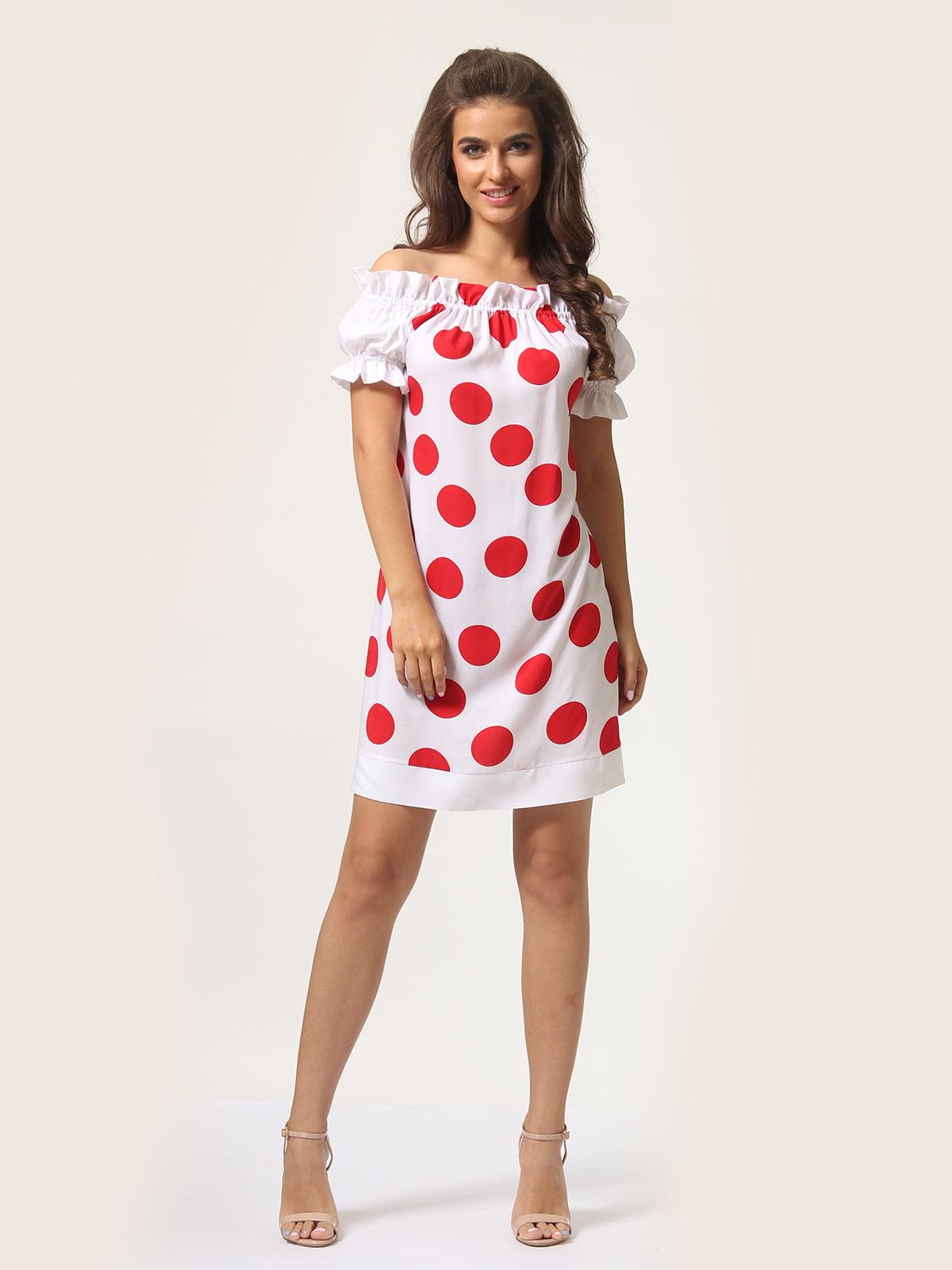 Платье белое в горошек | 4301918