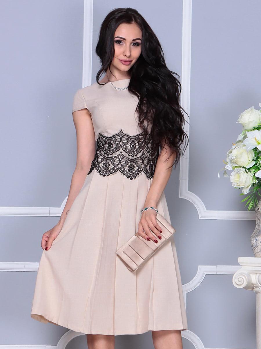 Платье бежевое | 4297681 | фото 3