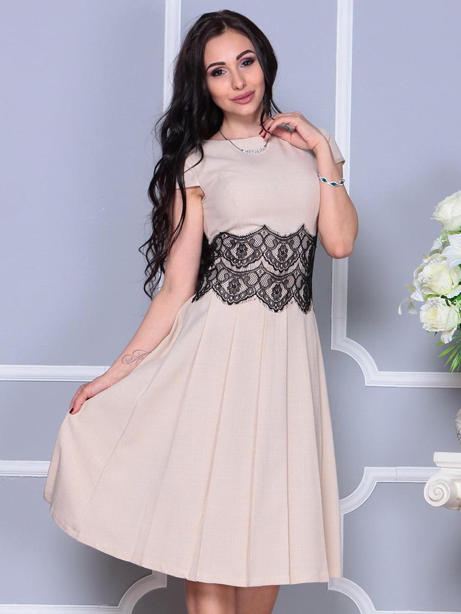 Платье бежевое | 4297681 | фото 5