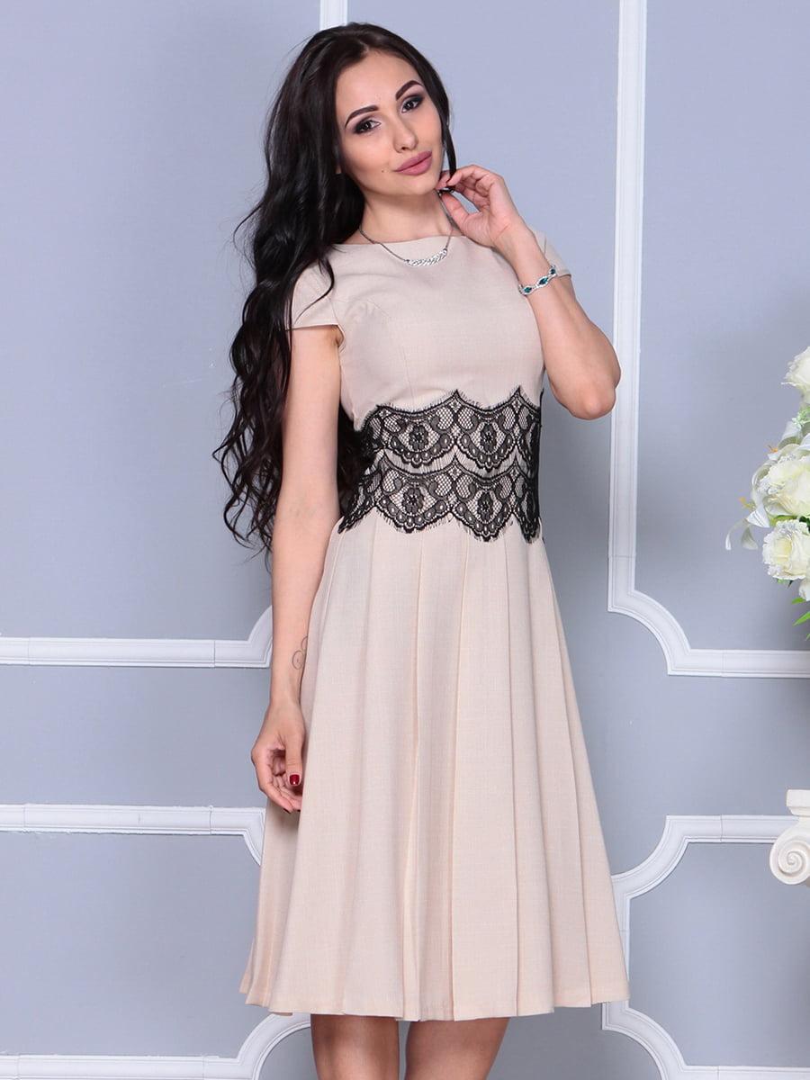 Платье бежевое | 4297681 | фото 6