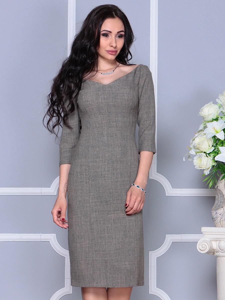 Сукня кольору бежевий хакі | 4297696