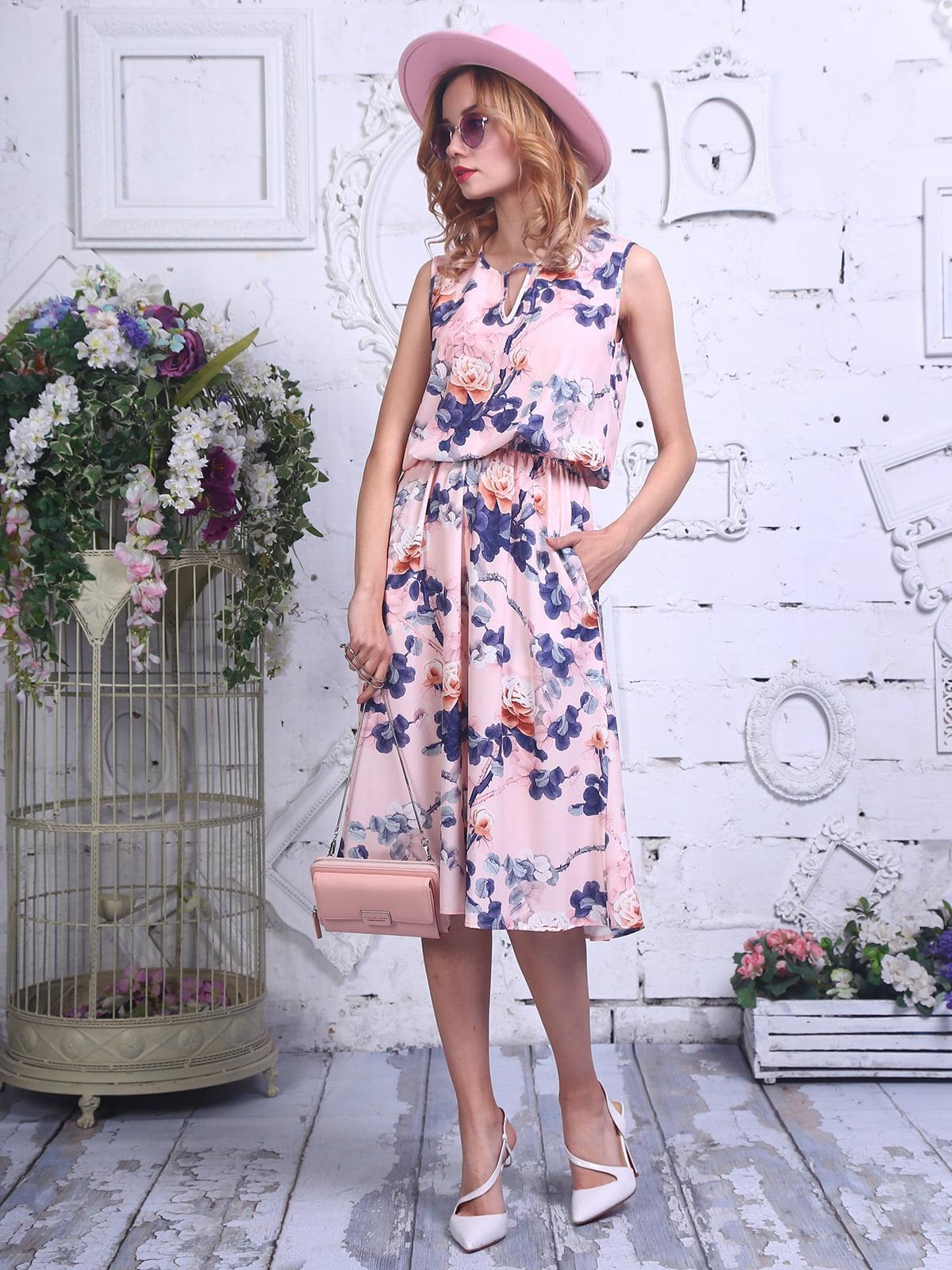 Платье розовое в принт | 4311695
