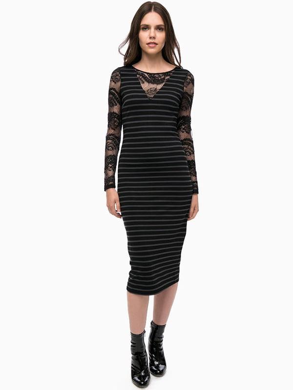 Платье черное в полоску | 4315480