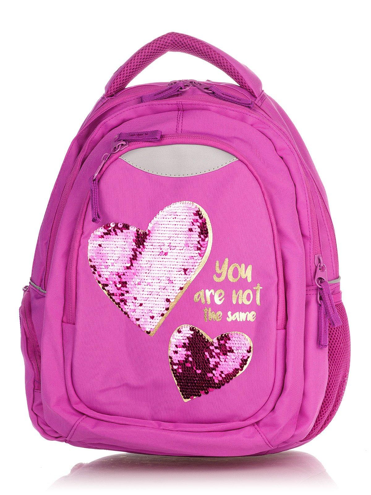 Рюкзак малинового кольору в принт | 4235701