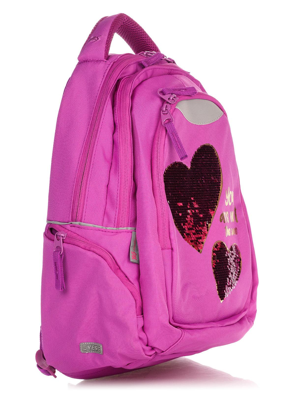 Рюкзак малинового кольору в принт | 4235701 | фото 3