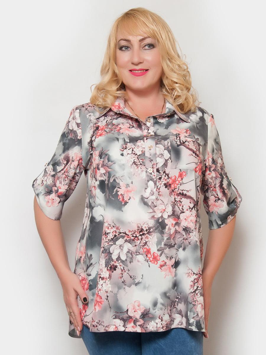 Блуза серая в цветочный принт | 4324364