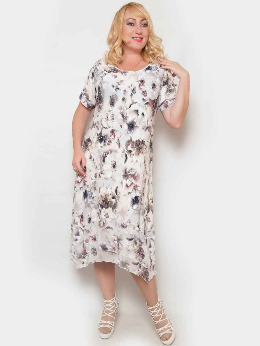 Сукня біла в квітковий принт   4324377