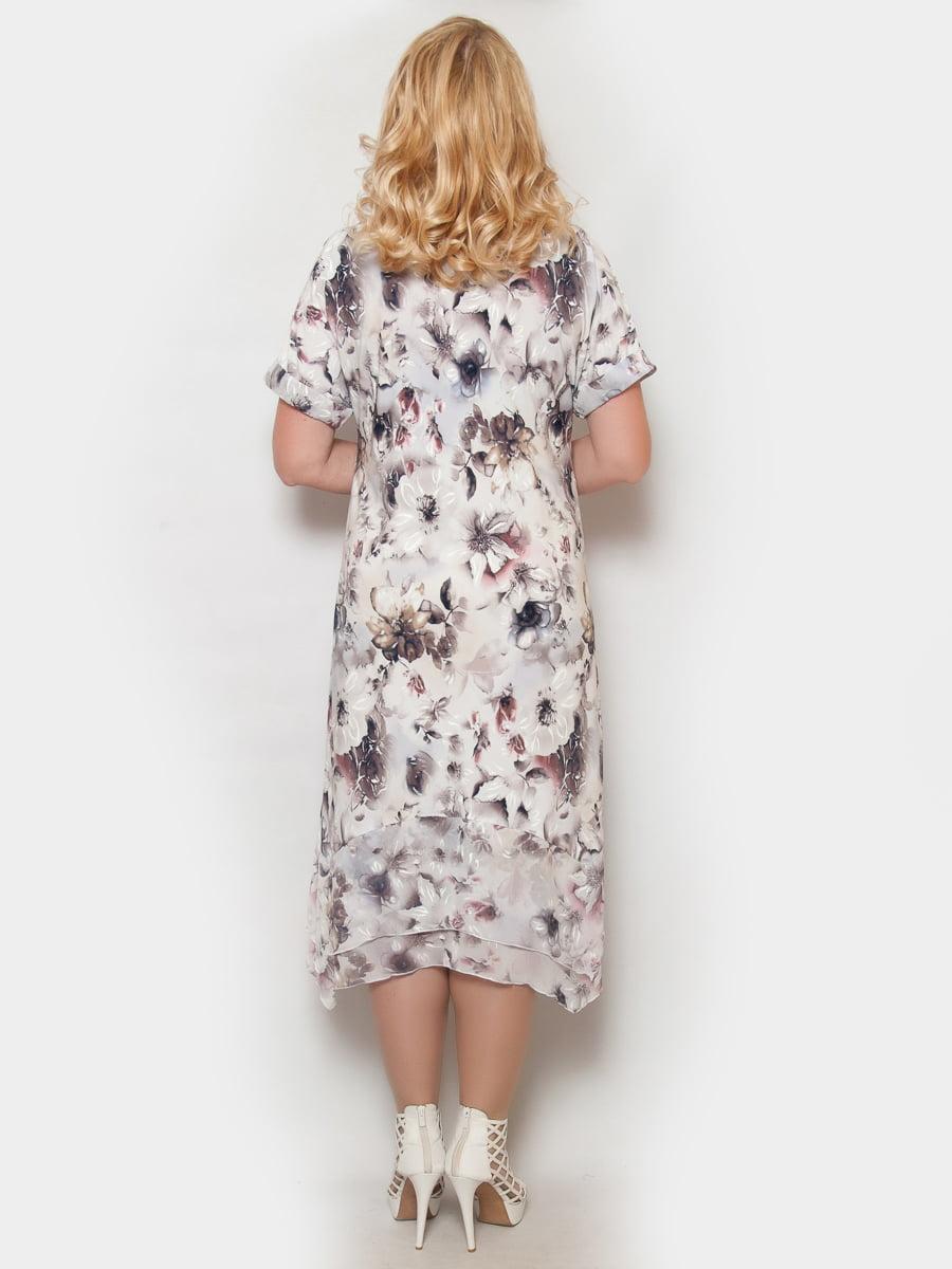 Сукня біла в квітковий принт   4324377   фото 2