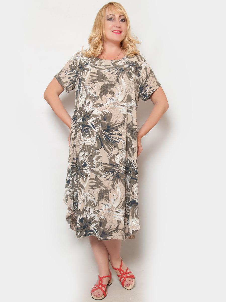 Платье цвета пудры в цветочный принт | 4324380