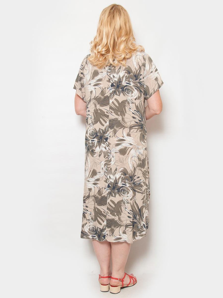 Платье цвета пудры в цветочный принт | 4324380 | фото 2