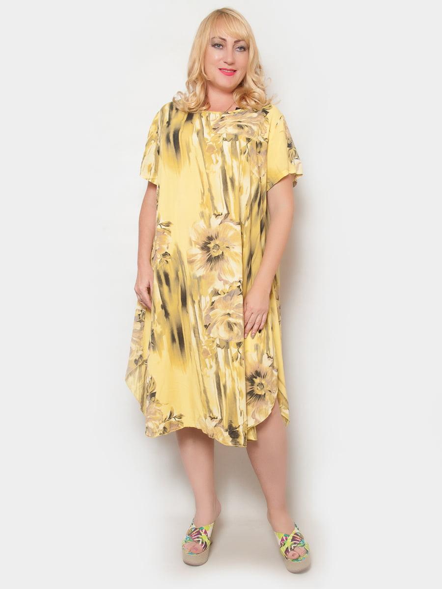 Сукня жовта в квітковий принт | 4324390