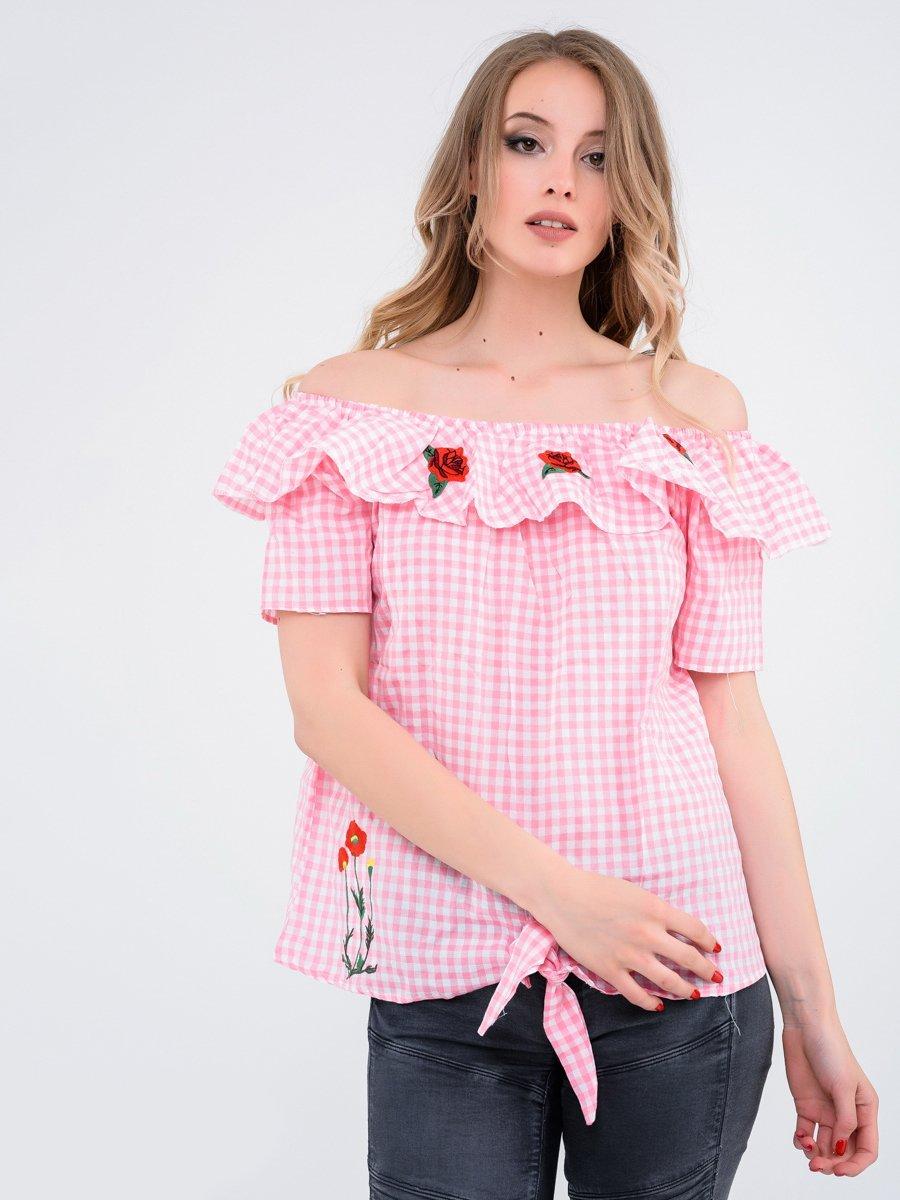 Блуза рожева в клітинку | 4271947
