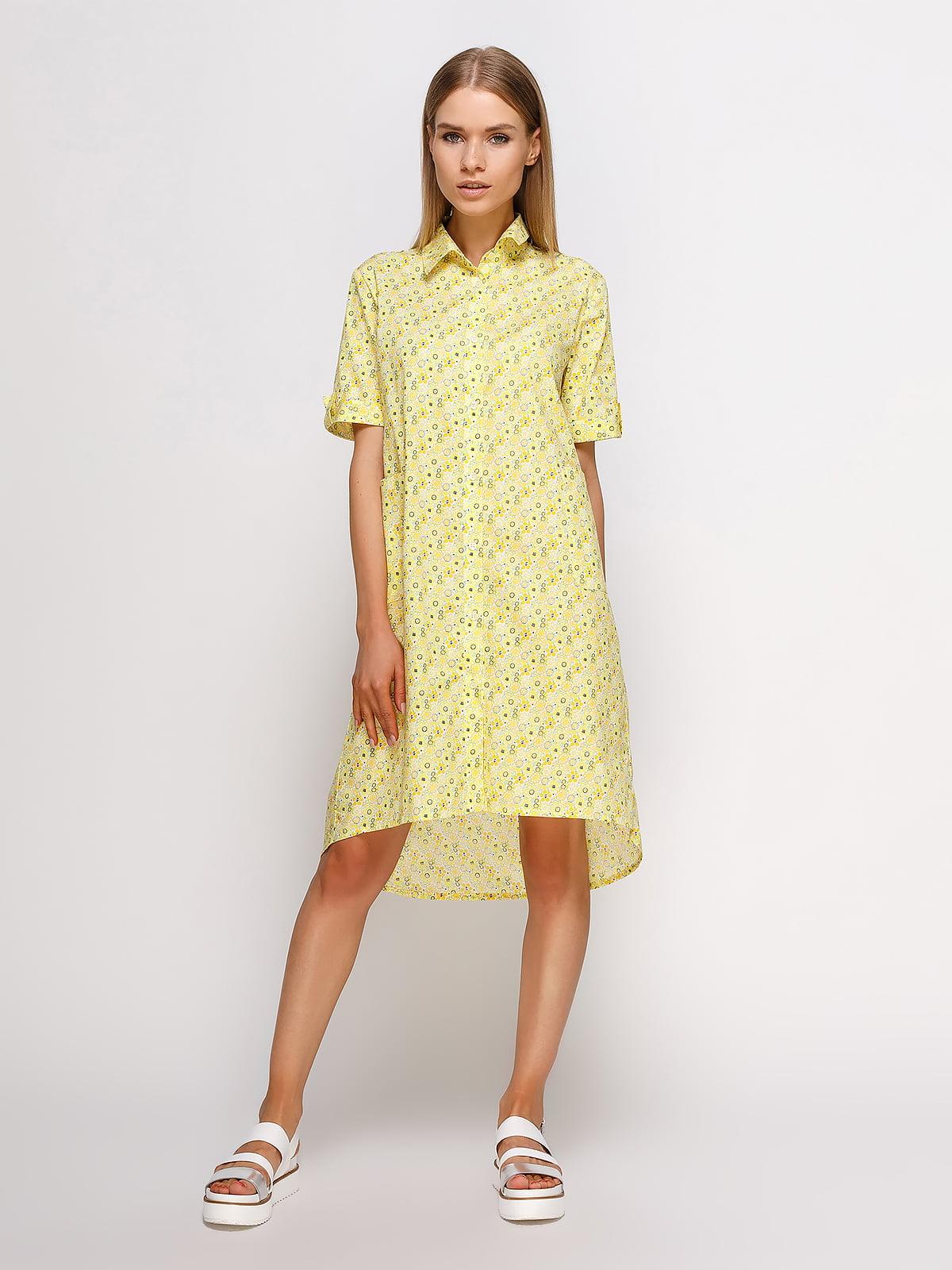 Платье-рубашка желтое в принт | 4327334