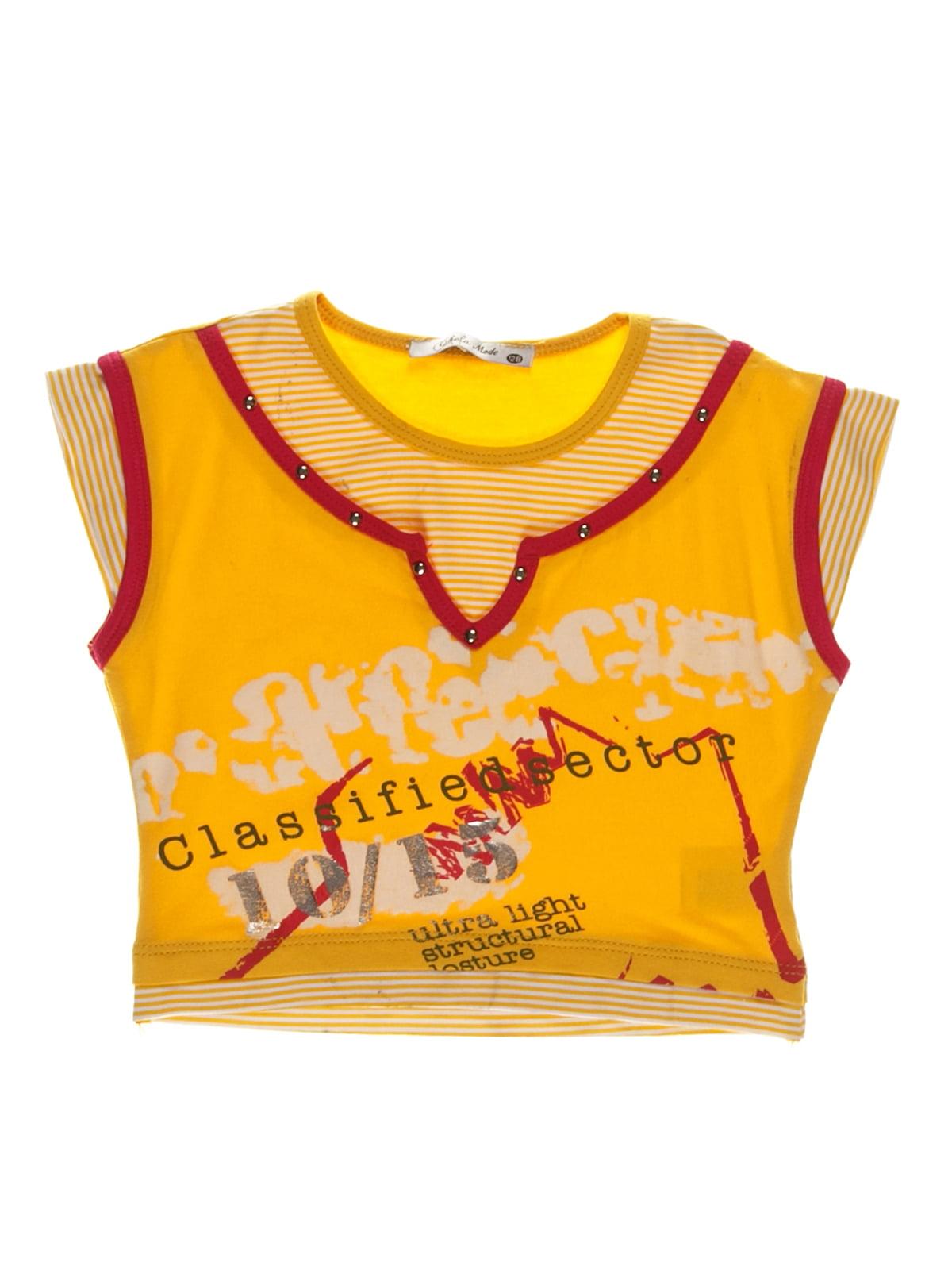 Футболка желто-белая в принт и полоску | 3168417