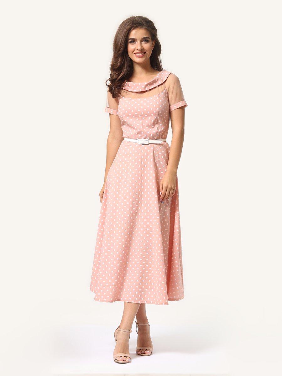 Платье цвета пудры в горошек   4341452   фото 3