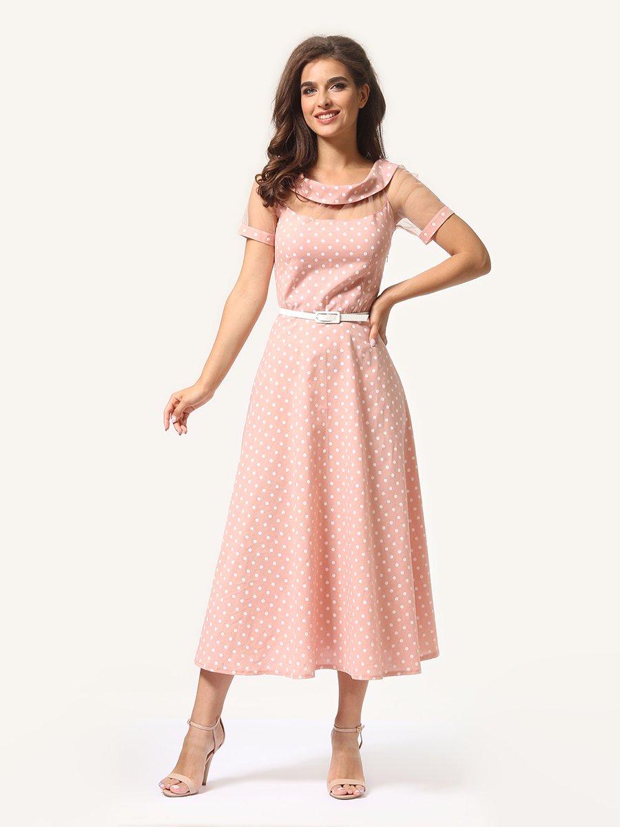 Платье цвета пудры в горошек   4341452   фото 4