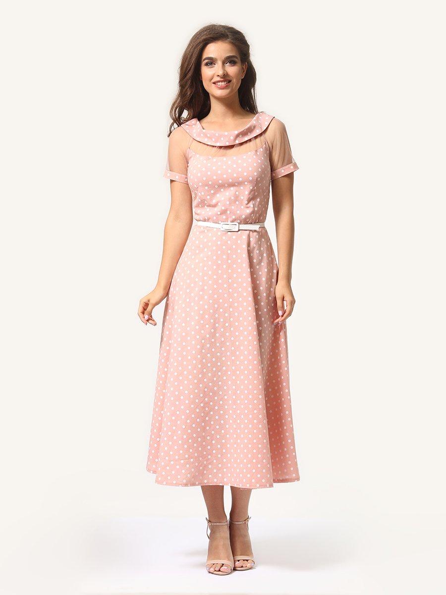 Платье цвета пудры в горошек   4341452   фото 5