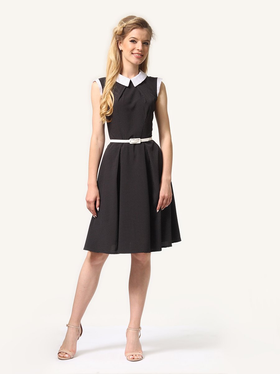 Платье темно-синее в мелкий горошек | 4341558
