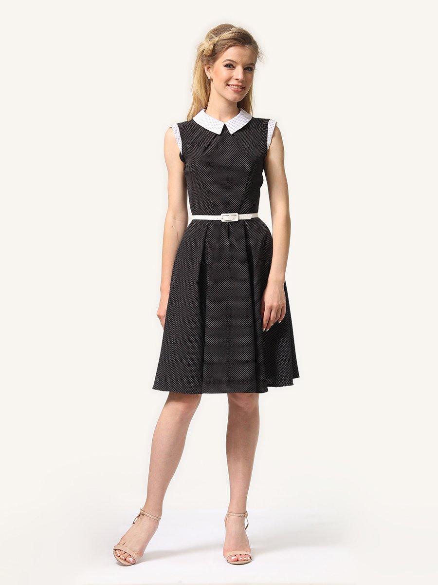 Платье темно-синее в мелкий горошек | 4341558 | фото 3