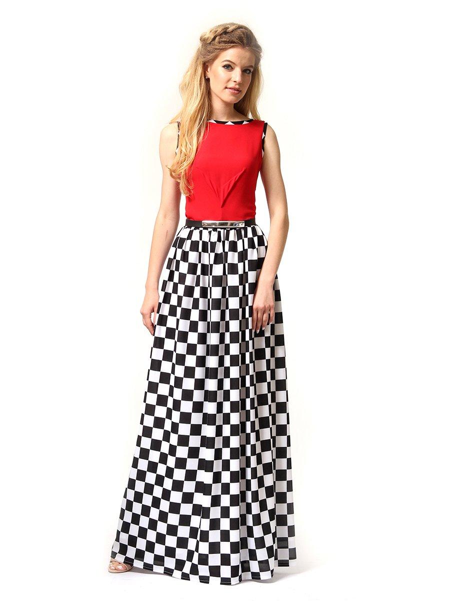 Платье красное в черно-белую клетку | 4341594