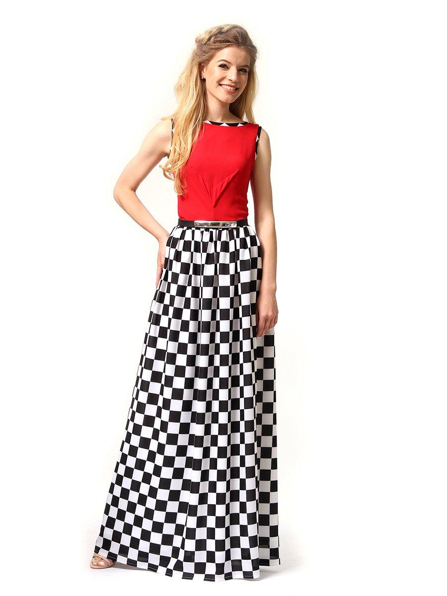 Платье красное в черно-белую клетку | 4341594 | фото 2