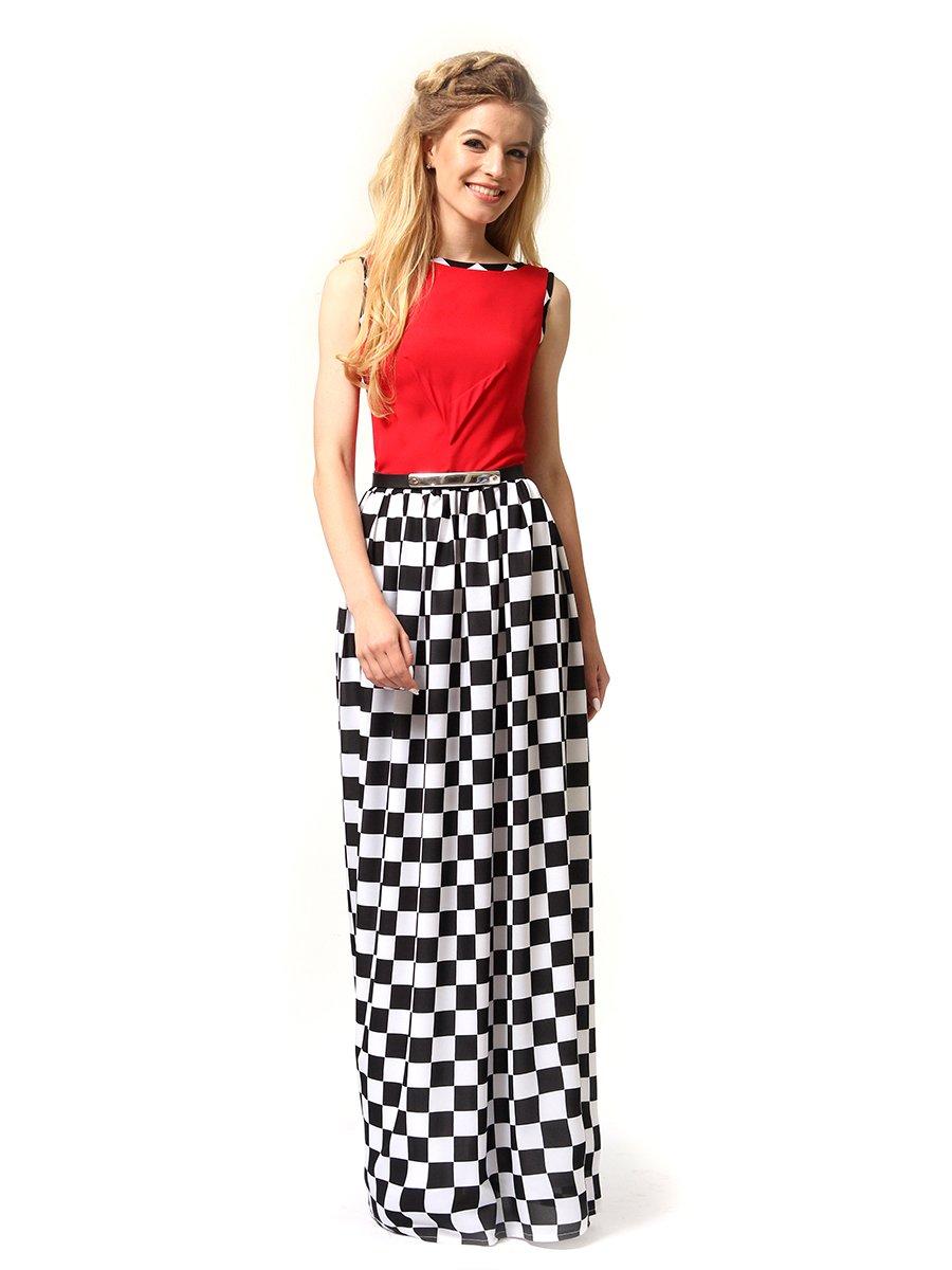 Платье красное в черно-белую клетку | 4341594 | фото 3